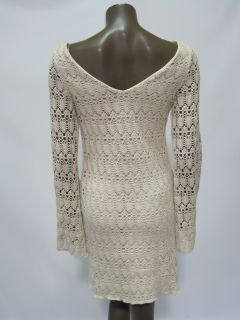 Judith March womens ivory crochet long sleeve dress $120 New