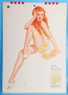 VINTAGE 1944 ALBERTO VARGAS PIN UP ESQUIRE BURLESQUE CALENDAR *MINT