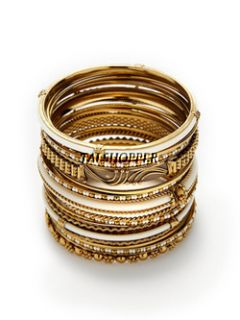 NWT $120 Amrita Singh Jewelry Alanna Gold RED Beads Boho 18 Bangle