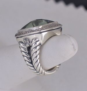 David Yurman 17mm Prasiolite Pave Diamond Albion Ring