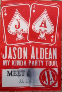 Jason Aldean My Kinda Party Tour Backstage Pass 2011