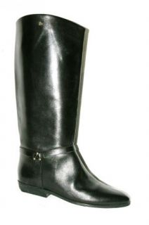 New Etienne Aigner Alexis Black Leather Pull on Riding Style Boots