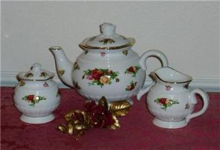 New Royal Albert Old Country Roses 3 PC Fluted Tea Set