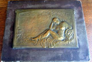 Brass Plaque or Medal French Poem Alfred de Musset Le Saule
