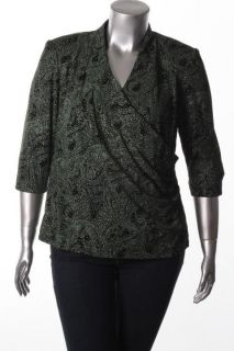 Alex Evenings New Green Glitter Ruched Faux Wrap Blouse Top Plus 1x