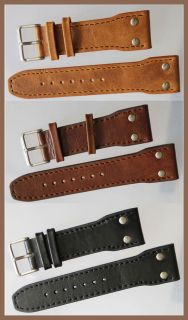Aviator`s Military Style Robust Watch Band Strap Black Brown