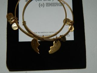 Alex and Ani 2 Best Friends Charms Expandable Wire Bangle Russian Gold