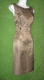 ALEX MARIE Metallic Taupe Silk Linen Beaded Sequin Neck Cocktail Dress