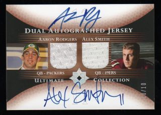 AARON RODGERS ALEX SMITH 2005 ULTIMATE DUAL AUTO JERSEY 10 10 PACKERS