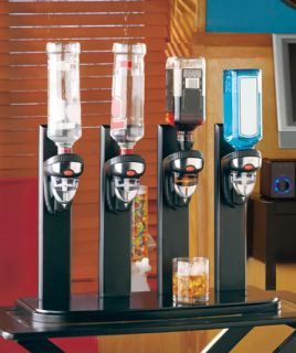 Bar Bottle Dispenser Alcohol Liquor Beverage Holder Butler Black Wood