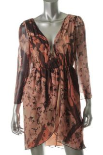 Alice Olivia New Conry Bell Pink Print V Neck Bell Sleeve Casual Dress