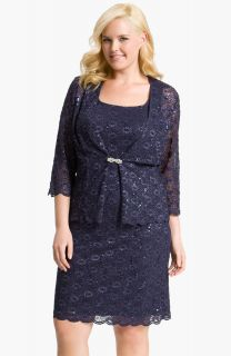 188 14W Alex Evenings Sequin Lace Dress & Jacket Navy Mother Of The