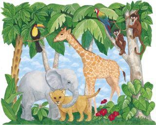 Jungle Animals Wallpaper Wall Decor Mural 6 x 7 1 2 259 72001