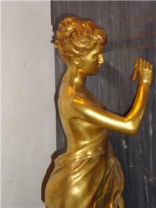 LRG French Bronze Lady Sculpture 19th C Alfred Boucher