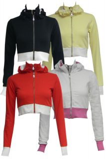 Alex Womens Zipper Zip Top Ladies Girls Crop Hoodie Sweart Shirt Coat