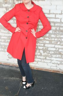 BURBERRY LONDON Red Trench Coat / Rain Jacket Size 14 / Large