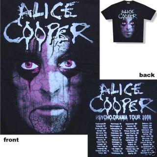 ALICE COOPER CRACKED FACE PSYCHO DRAMA 2008 TOUR BLACK T SHIRT XL X
