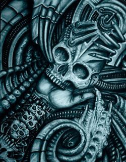 Alien Bio Roman Tattoo Design Art Bio Mechanical Print Techno Artwork
