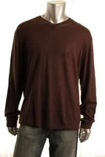 Alfani New Brown Long Sleeve Pullover Ribbed V Neck Sweater Shirt Top