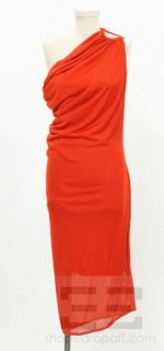 alexander mcqueen red knit one shoulder dress size m