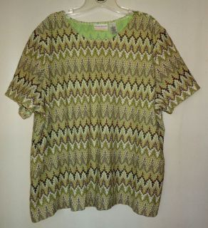 Womens ALFRED DUNNER Plus Size 3X Shirt Top Green Brown Ivory