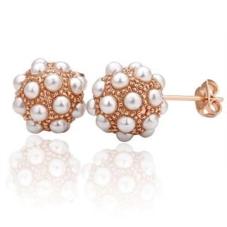 18K Rose Gold GP Cluster Pearl Stud Earrings Retails $34 00 E36