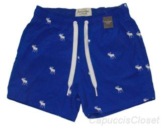 Abercrombie Fitch Mens Swim Shorts Algonquin Board Trunks Blue Moose s