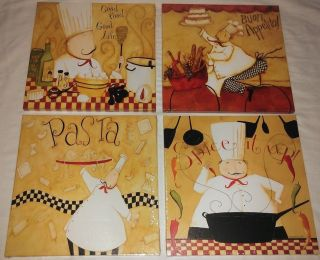 SET OF 4 FAT CHEF FRENCH ITALIAN BISTRO CANVAS PICTURES HOME DECOR LOT