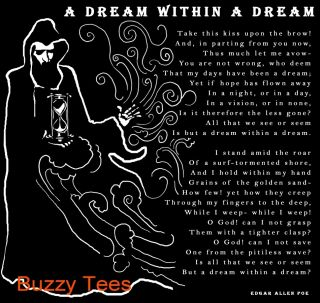Edgar Allan Poe, Dream Within A Dream, T Shirt, graphic, poetry, Sizes