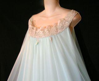 Vtg Alice Maloof Elegant Chiffon Gown Negligee Nightgown Peignoir Robe