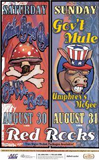 Allman Brothers Govt Mule Red Rocks 2008 Concert Poster