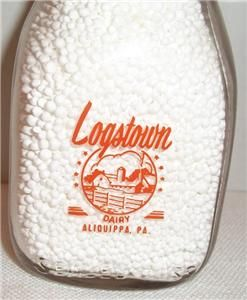 Logstown Dairy Aliquippa PA Half Pint Milk Bottle 2 Color Lettering