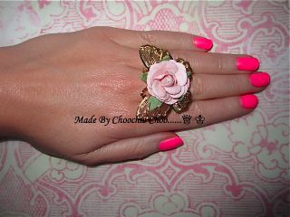 Gold Butterfly Baby Pink Rose Flower Ring Vintage Flower Girl Choochie