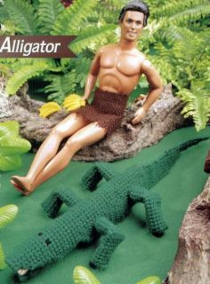 Barbie Ken Doll Toy Jungle Alligator Plastic Canvas Pattern Leaflet