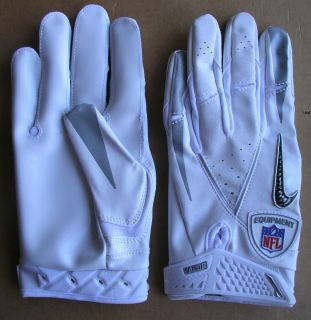 CARBON VAPOR NFL EQUIPMENT PRO MAGNIGRIP LARGE WHITE FOOTBALL GLOVES