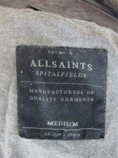 All Saints Jacket Black Leather Moto Mens SzM at Socialite Auctions 9