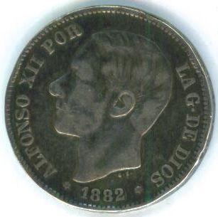 Spain 5 Pesetas SILVER CROWN XF Coin ALFONSO XII La Gracia de Dios