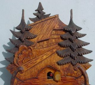 Clock Black Forest German Carved Front Alpine Scene Parts