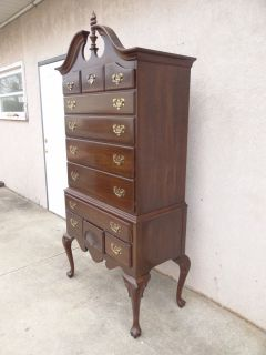 Ethan Allen Georgian court high boy Chippendale dresser chest