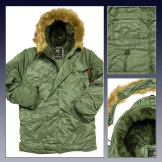 XS ALPHA PARKA BRAND NEW! N3B KHAKI GREEN WITH FUR TRIM HOOD WINTER