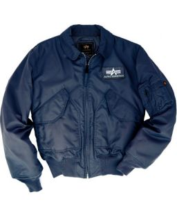 Alpha Industries CWU 45 P Pilot Flight Deck Bomber Jacket Replica Blue 