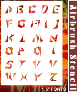 26 Alphabet Letter Airbrush Stencil Template Design Paint Hobby Tattoo