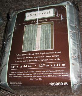Allen Roth Jamestown Lined Curtain Drapery Drape Panel Green Mist 8915