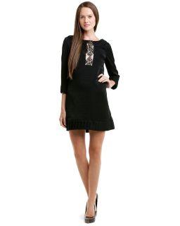 ali ro black metallic pleated shift dress $ 275 00