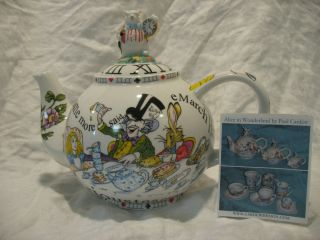 Paul Cardew Alice in Wonderland Teapot Mad Hatters Tea Party Scene