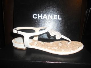 Leather Thong Flat Sandals Shoes with Large Terry CC Logo 37