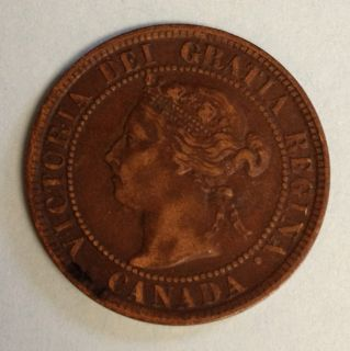 1894 Canada Canadian Large Cents One Cent Coin Penny