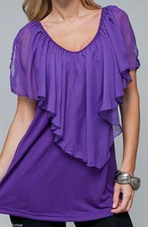 Size 1X TANK TOP SHIRT Womens Plus SHORT SLEEVE Purple ROMAN FASHION