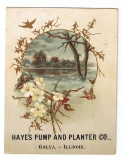 Hayes Pump and Planter Co Galva Ill Trade Card 1880S