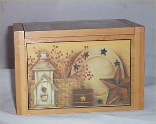 home decorating on recipe box bamboo primitive star kitchen decor folk art home decor 2
